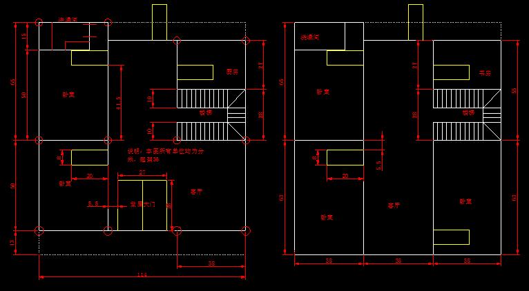 【农村房屋设计】农村房屋设计图(三间两层)_cad图纸