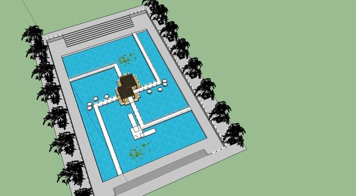 佛家放生池模型设计_cad图纸下载-土木在线