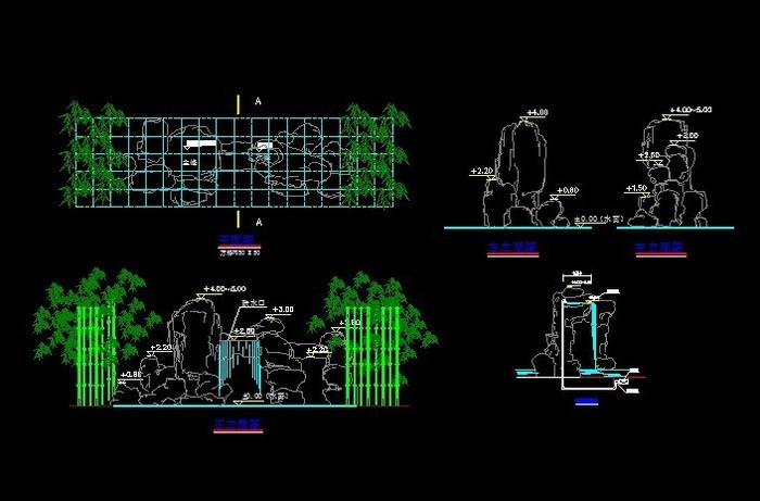 图纸 园林设计图 小品及配套设施 假山置石设计图 假山平面图立面图和
