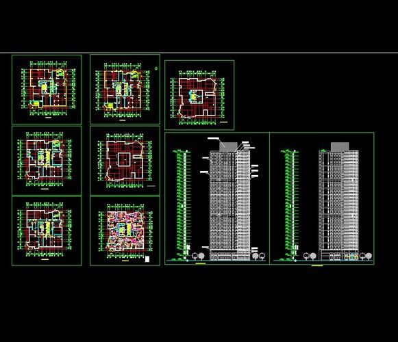 高层点式住宅楼平立面图