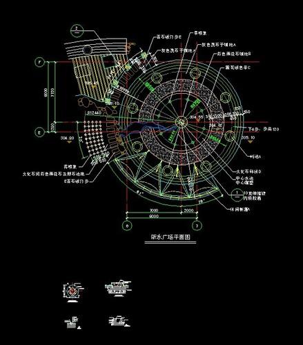 听水广场平面施工图设计