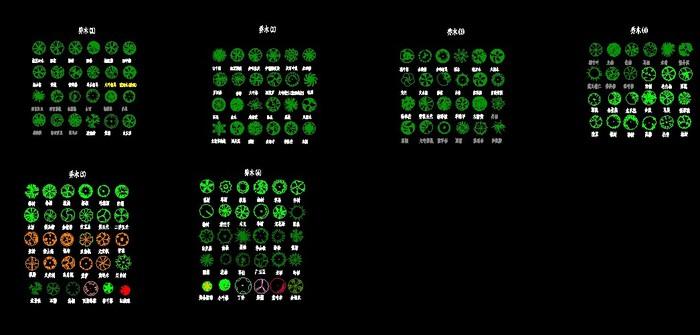 植物素材图例(植物素材)  1-园林树木平面图-乔木    1-园林树木平面