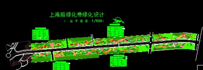 道路绿化带植物种植平面图