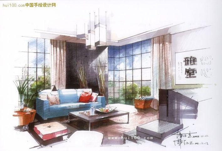 客厅马克笔手绘图 线条流畅,画面清晰,色彩运用得恰到好处