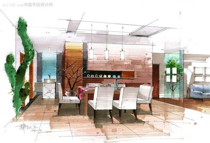 餐厅马克笔手绘效果图 线条流畅,画面干净整洁,色彩运用得恰到好处