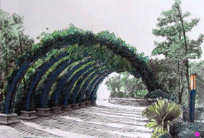 校园景观;; 景观小品_景观小品手绘,景观小品设计