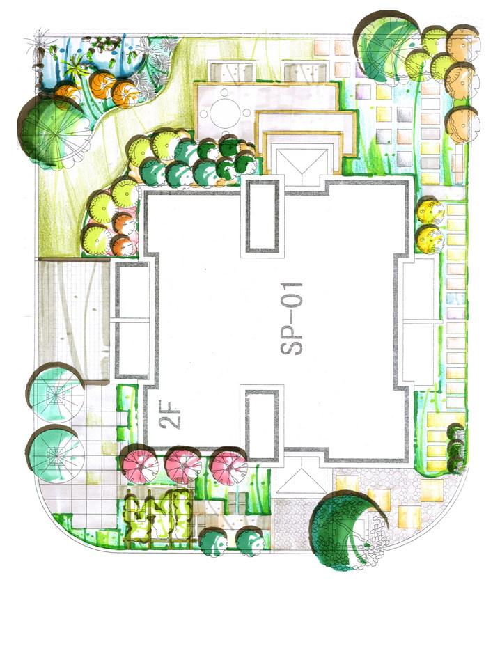 别墅庭院设计_cad别墅下载里大连开发区涛图纸听图片