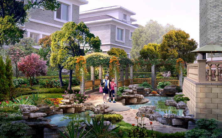 别墅景观设计(效果图)图片