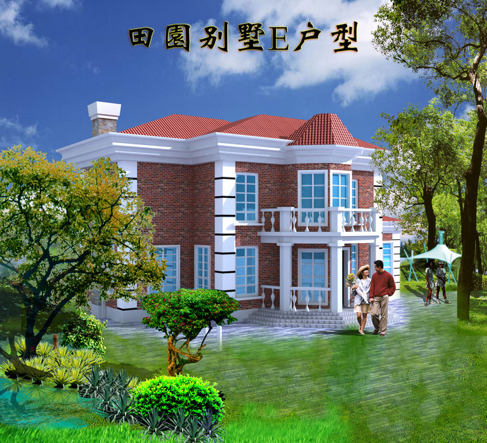 设计装修图,共67张 三层田园别墅完整的建筑及装饰