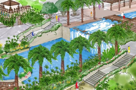 跌水景观手绘效果图; 2室2厅手绘效果图图片分享; 跌水景观手绘效果图