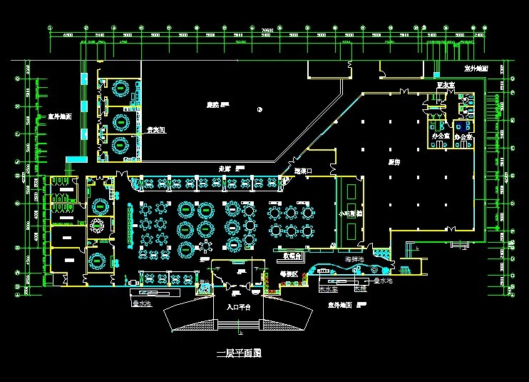 中式餐厅cad施工图 平面,立面,天花