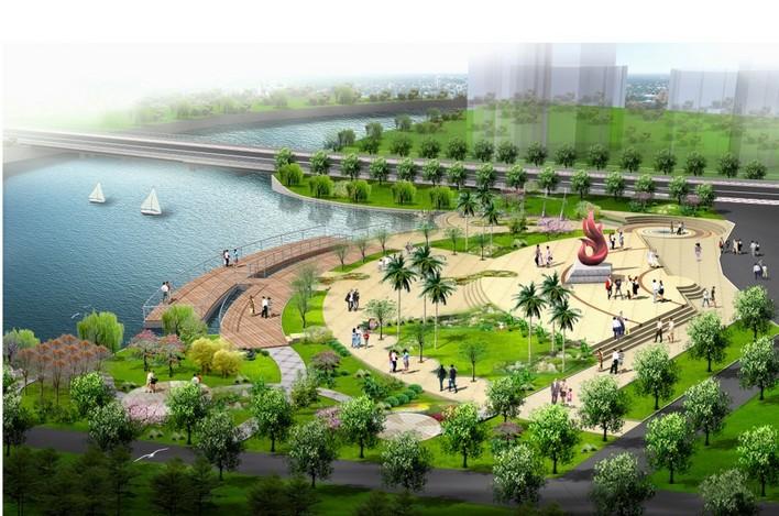 某市滨水公园节点效果图