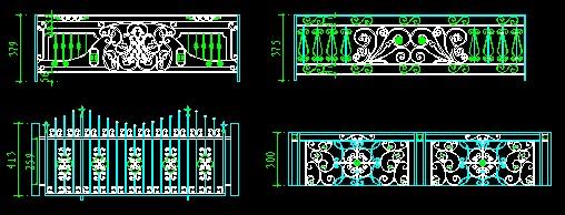 多种铁艺栏杆花纹造型cad素材图纸