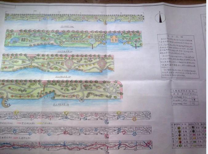 河岸区规划设计图,总长500米,分三个节点.
