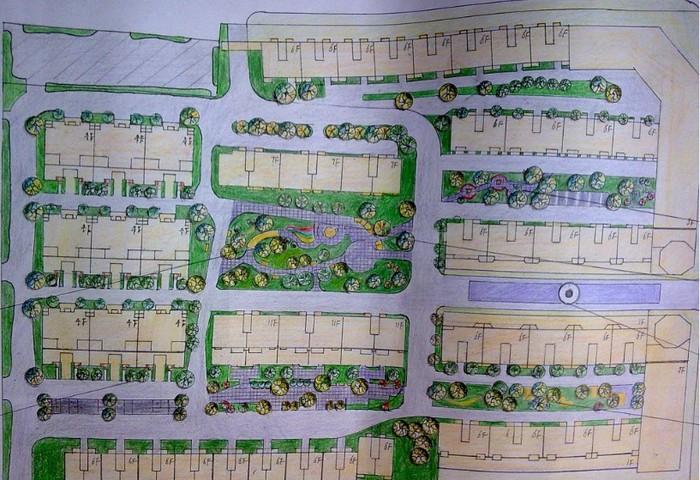 某小区规划设计手绘图,多层建筑混合搭配,包含景观节点详图.