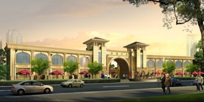 会所设计  欧式小区大门设计效果图   大门设计效果图,沿街为商品房