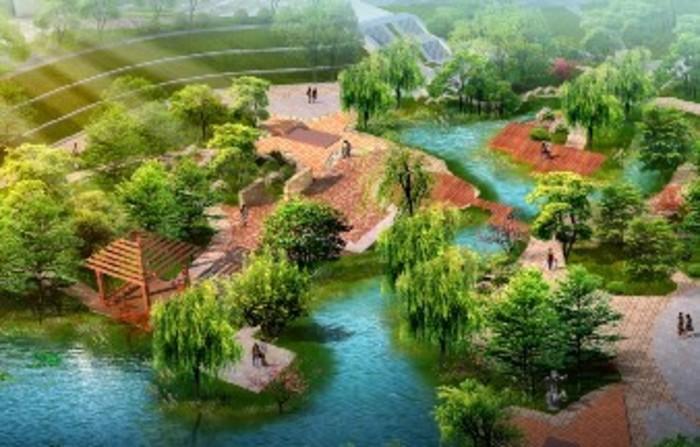 园林设计图  园林景观效果图  园林景观鸟瞰图(鸟瞰图)  公园局部鸟瞰