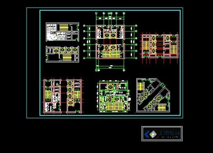 框架-核心筒结构商务酒店 某地核心筒结构高层写字楼建筑设计方案图纸