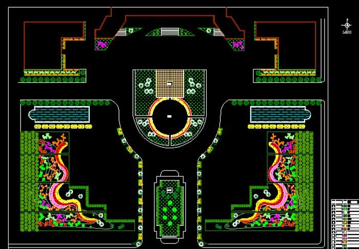 某政府市政广场平面图_土木在线; 中心对称广场,魔纹花坛