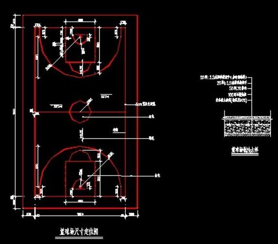 最新国家标准篮球场图纸建筑施工全套_cad图四邻图纸图片
