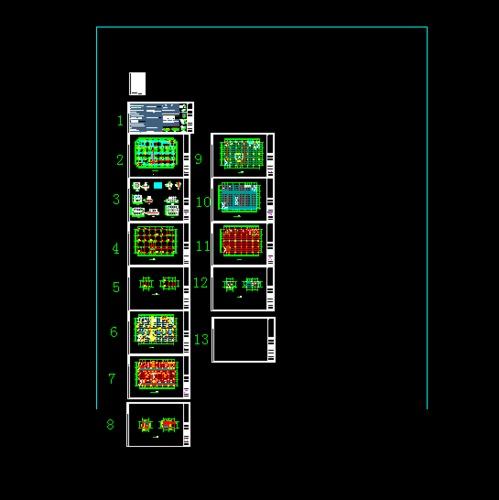 某商场框架设计图纸 某地89x18螺栓球单坡矩形网架设计图 某地五层