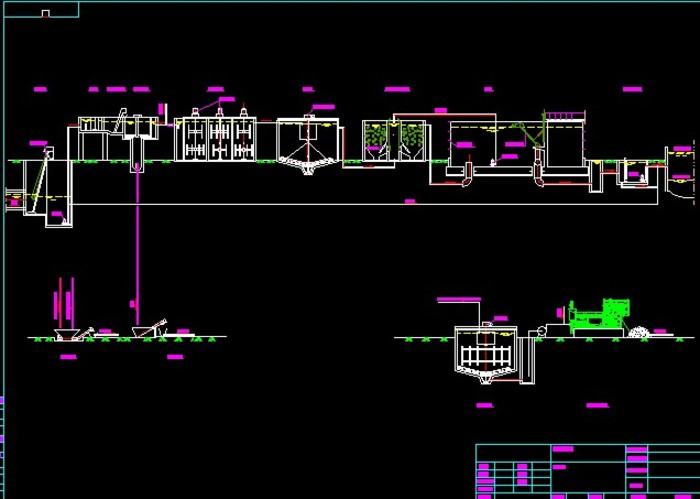 污水处理弹簧流程图(混凝+厌氧+好氧)_cad图纸cad工艺画螺旋图片