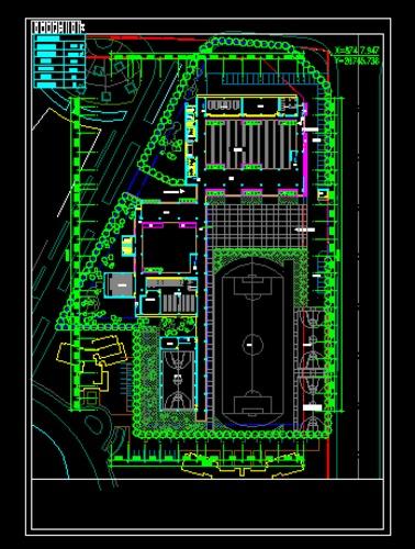 附属小学规划方案总平面图   某社区的小学规划方案平面图,包含运动场