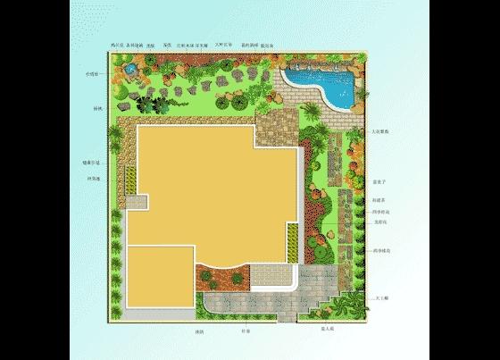图纸 园林设计图 园林景观效果图 园林景观平面效果图 别墅庭院布置彩