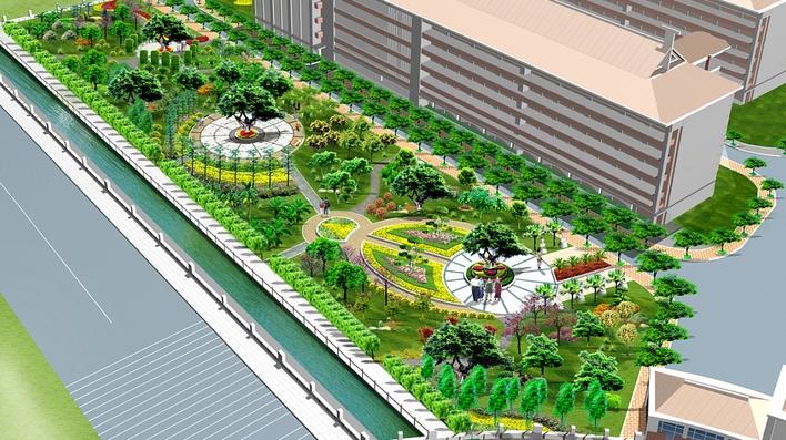大学校园宿舍区绿化景观设计平面布置图