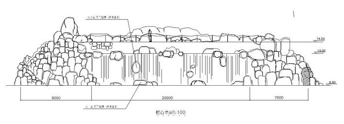 某园林假山跌水置石景观设计施工图