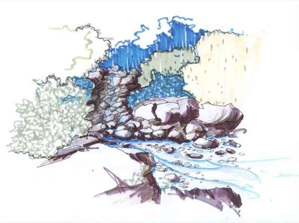 小区规划平面及手绘效果图