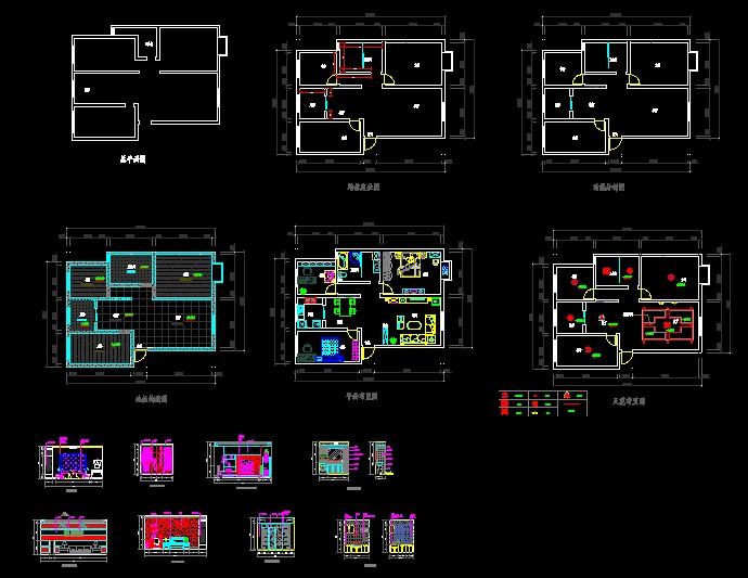 住宅平面图,吊顶,天花,地面,每个房间的立面图,都很详细,希望