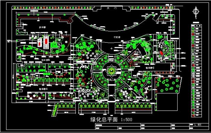 某学校绿化总平面图