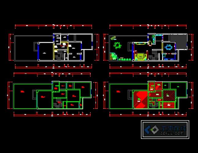 居住区规划总平面图,单体建筑立面图,户型图cad 植物装饰品平立面图