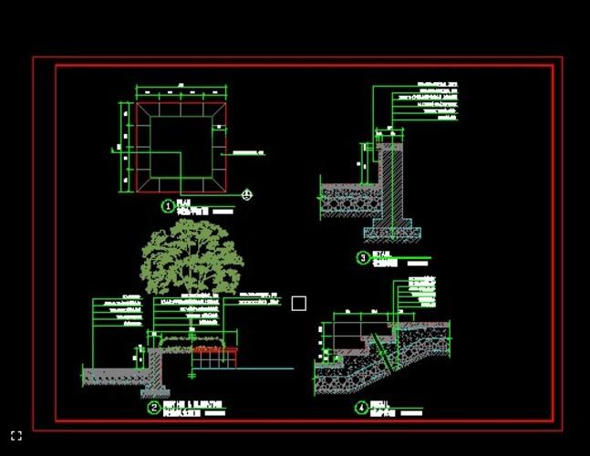 居住区及公园绿化设计图(居住区绿化)  一套树花池及踏步的施工图