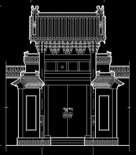 某寺庙明清风格5开间框架结构山门建筑方案图 山门设计全套图纸 顺平