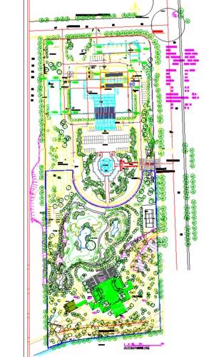 某山地酒店总图,酒店前有大片园林设计,景观流线与周边环境