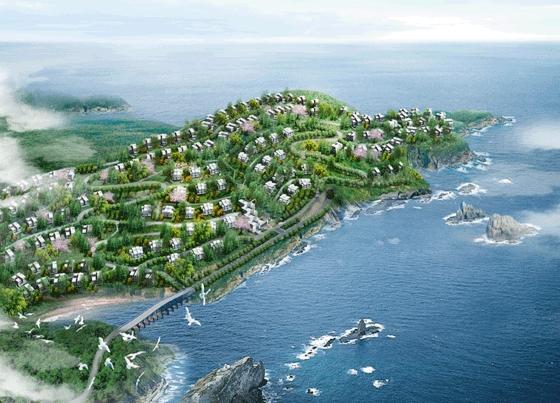 图纸 园林设计图 园林景观效果图 园林景观鸟瞰图 滨海别墅小区鸟瞰图