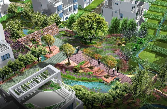 小区景观效果图,分辨率很高,制作精美,对学习园林景观设计的