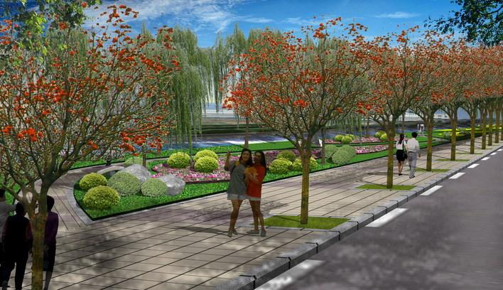 城市道路绿化效果图_农村道路绿化效果图_道路绿化手绘效果图_银澜