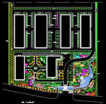景观设计平面,竖向设计,园林植物配置,风水知识利用,自然石块汀步