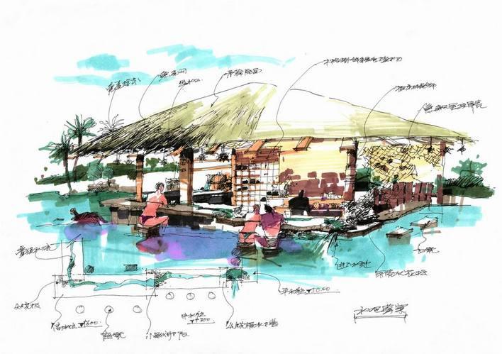图小别墅设计手绘图全套景观小品手绘图花坛设计手绘图展馆设计手绘图