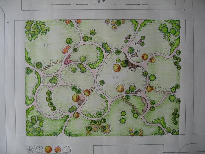 小游园手绘平面图; 明日校园设计图一; 小区游园设计图