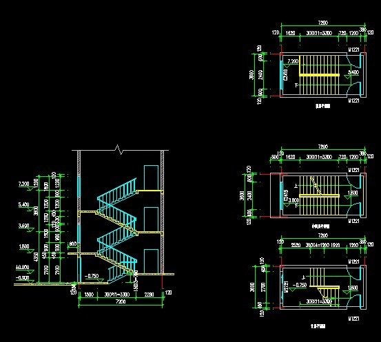 双心型旋转楼梯-autocad三维立体图 施工常用图图库4洞口电梯井楼梯