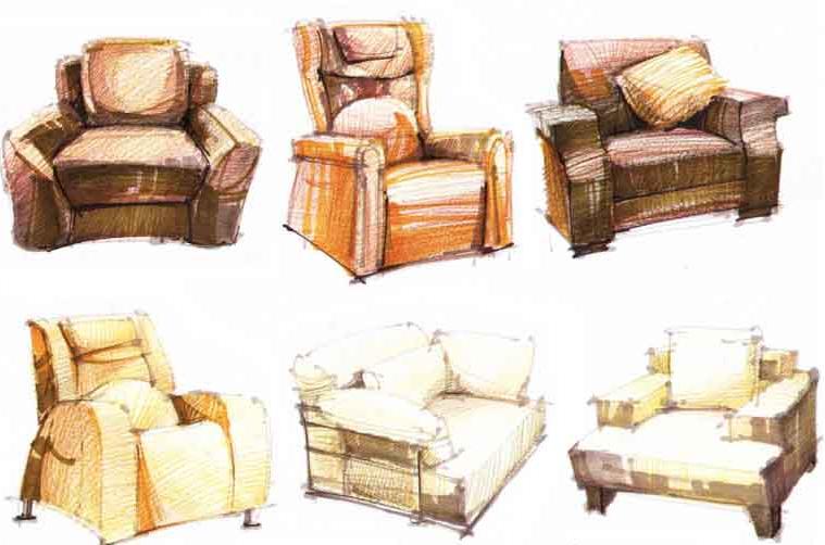 室内手绘效果图 沙发的表现