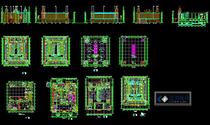 法式建筑) 多层快捷连锁酒店建筑设计autocad图纸 全套欧式框架结构图片