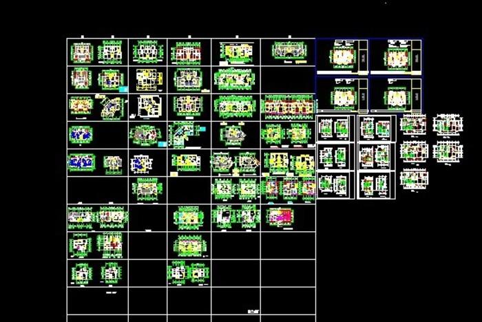 多种一梯两户的平面图户型,面积都是在八十平米到一百五十平米之间.