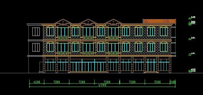 图纸 建筑图纸  商业建筑  商场设计  欧式三层商业楼方案效果图   公