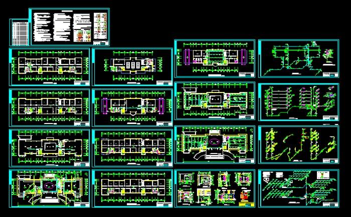 屋顶水箱间平面图及立面图,卫生间大样图,电梯井道积水坑排水示意图