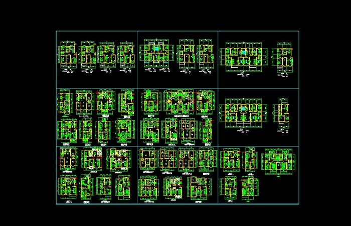 某住宅小区一梯六户高层住宅建筑设计施工图 一梯六户小高层住宅全套